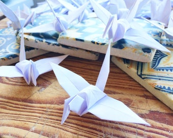 White Origami x 50 Origami Birds Paper Cranes  Folded Paper Birds - Wedding Decoration - Ornament Decoration - Wedding Favoursv- Baby Shower