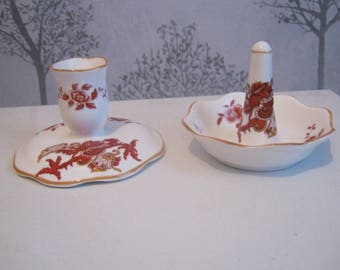 """Crown Staffordshire """"Rangoon"""" Candlestick and Ring Holder"""