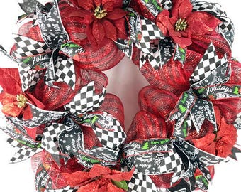 Red Black Decomesh Christmas Wreath For Front Door, poinsettia wreath, Christmas poinsettia wreath, red black holiday wreath for front door