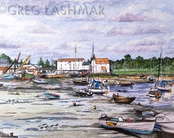 "Watercolour Print, Woodbridge, Suffolk, Art Print ready to Frame, 10"" x 8"""