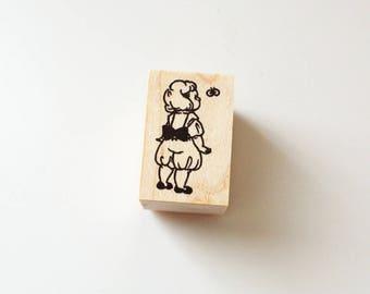 Girl looking a Butterfly / Original Rubber Stamp / Designed by Krimgen
