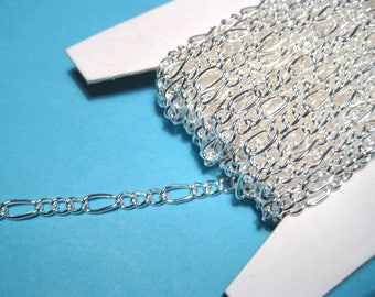 30ft Spool Bright Silver Iron Handmade Chains Figaro Chains Mother-Son Chains Links-Opened ( No.05YS)