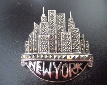 Vintage Sterling Silver Marcasite Judith Jack New York NYC Skyscraper Brooch Excellent Condition VIDEO