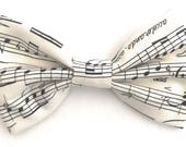 Mens Music Note Bow Tie, Ivory Bow Tie