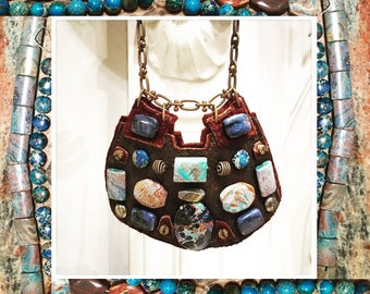 THE SHIELD NECKLACE by Gilded-Mane : African Turquoise, Jasper and Lapis Beads on Chocolate Deerskin Leather, Large
