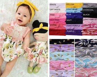 Newborn headband, Pick 1 Knotted Head wrap, Boho Headband, Baby turban headband, Infant headband, Baby turban, Headwrap, knit headband