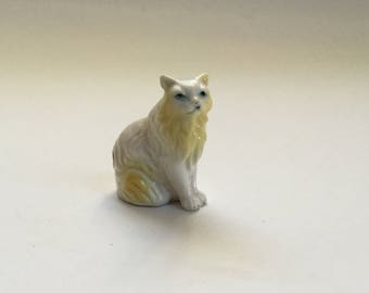 Vintage Cat Figurine/Bone China Persian Cat Miniature/Made in Japan/Mid Century