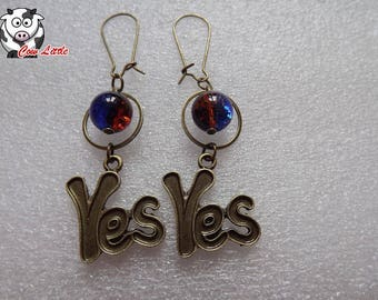 """Earring bronze """"YES"""" Yes and bi color glass bead"""