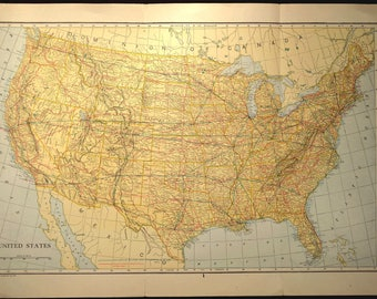 Antique United States Map Highway U S Roadway Usa Original