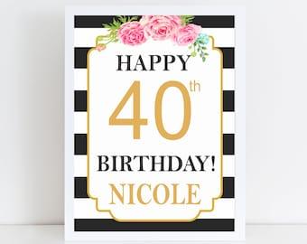 Happy Birthday Sign, Happy 40th Birthday, Kate Spade Birthday Party Decoration, Party Signs, 40th Birthday Sign, Party Decor, Printable Sign