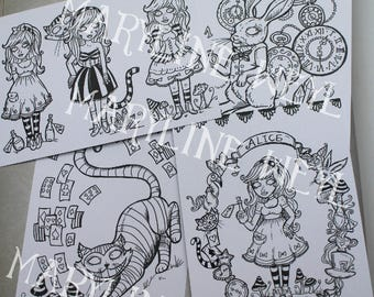 x 4 coloring postcard coloring alice in Wonderland