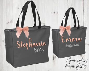 Bridesmaid tote, bridal party totes, wedding gift, bridesmaid gift, bride tote, personalized tote,