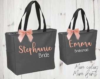 set of 4 Bridesmaid tote, bridal party totes, wedding gift, bridesmaid gift, bride tote, personalized tote,