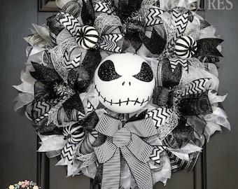 Jack Skellington Wreath, XL Halloween Wreath, Premium Halloween Wreath, Black and Silver Halloween Wreath, Skeleton Wreath, Halloween Decor