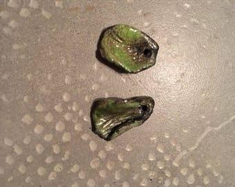 2 charms leaves green Raku for earrings