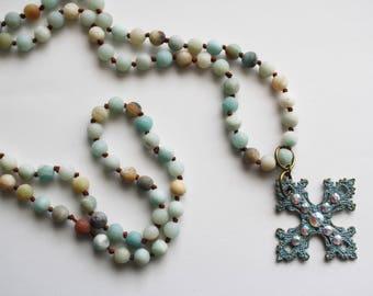 Rhinestone cross Necklace, Amazonite Beads, Long Necklace, Blue Pendant Necklace