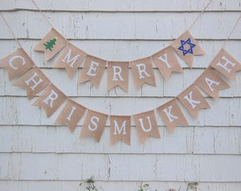Ready to Ship, Merry Chrismukkah Banner, Hanukkah Banner Garland, Chrismukkah Decor, Chrismukkah Hanukkah Decorations, Happy Hanukkah Decor