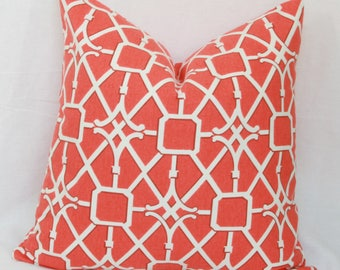 """Orange & white lattice decorative pillow cover. 20""""x 20"""" toss pillow cover Orange pillow Orange white pillow Decorative throw pillow cover"""