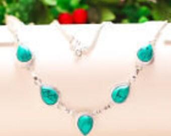 "Santa Rosa Blue Turquoise 925 Silver Necklace 16- 18""Statement Jewelry,Turquoise Jewelry,Necklace Under 20,Silver Turquoise,UK Seller,Unique"