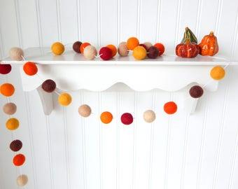 Autumn Wreath Garland, Autumn Garland, Fall Garland, Fall Decoration, Thanksgiving Garland, Felt Ball Garland, Autumn Decor, Pumpkin