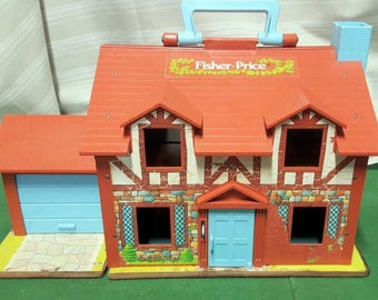 Fisher Price Little People, Play Family Tudor House #952, 1980's Vintage Fisher Price Toy House, FPLP