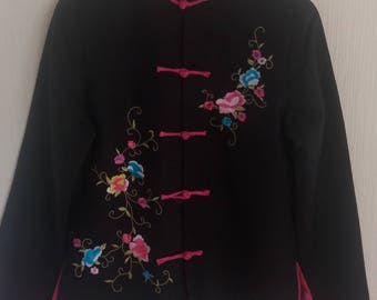 Vintage Black/Pink Linen Embroidered Chinese Jacket Size Small/Medium