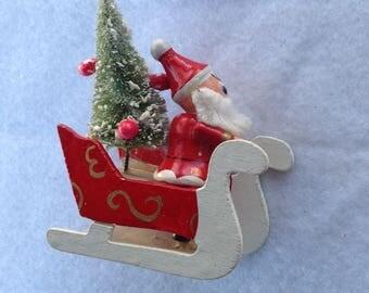 Vintage Wood Santa Sleigh and bottle brush tree Christmas Figurine