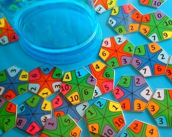 ON SALE Summer Vacation Adding Numbers Play, Math Mandala Game, Learning Puzzle, First Grade Math Worksheets, Preschool Math Activities, Hom