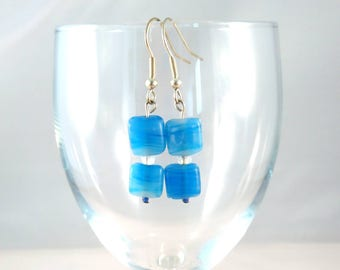 Handmade Beaded Earrings. Silver Plated Blue Glass Bead Beaded Jewellery. Gifts for Her, Organza Gift Bag. Unique, One of a Kind.