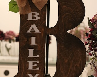 Wood Letter-Monogram-Door Hanger-Personalized-Initial-Wreath-Home Decor-Family Name-wall letter-Mothers Day gift-Wedding Gift-Easel decor