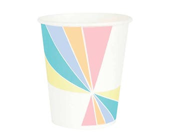 Pastel Paper Cups (8), Pastel Pinwheel Cups, Party Cups in Pink - Apricot - Lavender - Blue - Yellow
