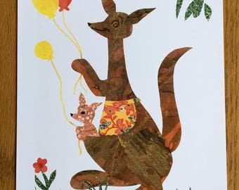 Kangaroos with Balloons, Baby Art Print, nursery decor, baby room art, australian art, kangaroo party