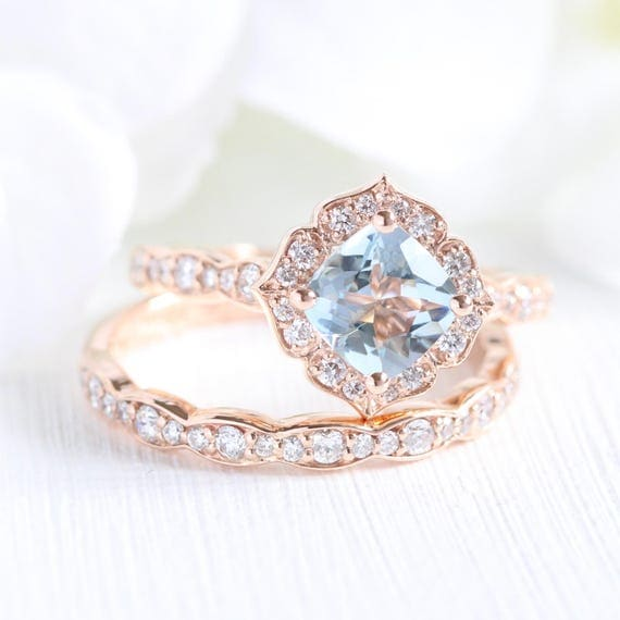 etsy wedding rings mini vintage floral aquamarine engagement ring and scalloped 3942