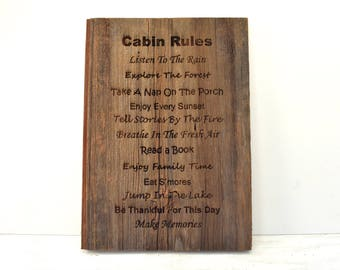 Cabin Rules Barnwood Sign
