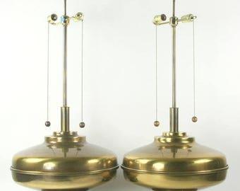 Large Pair Mid-Century Lamps, Designer Brass Lamps, MCM Lamps, Large Retro Lamps 1960s lighting