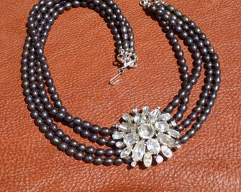 Black Pearl Multi-Strand Necklace With Removable Vintage Pin