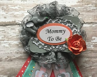 Grey & Coral Elephant Mommy To Be Corsage Elephant  Baby Shower Corsage It's a Girl Baby Shower Corsage