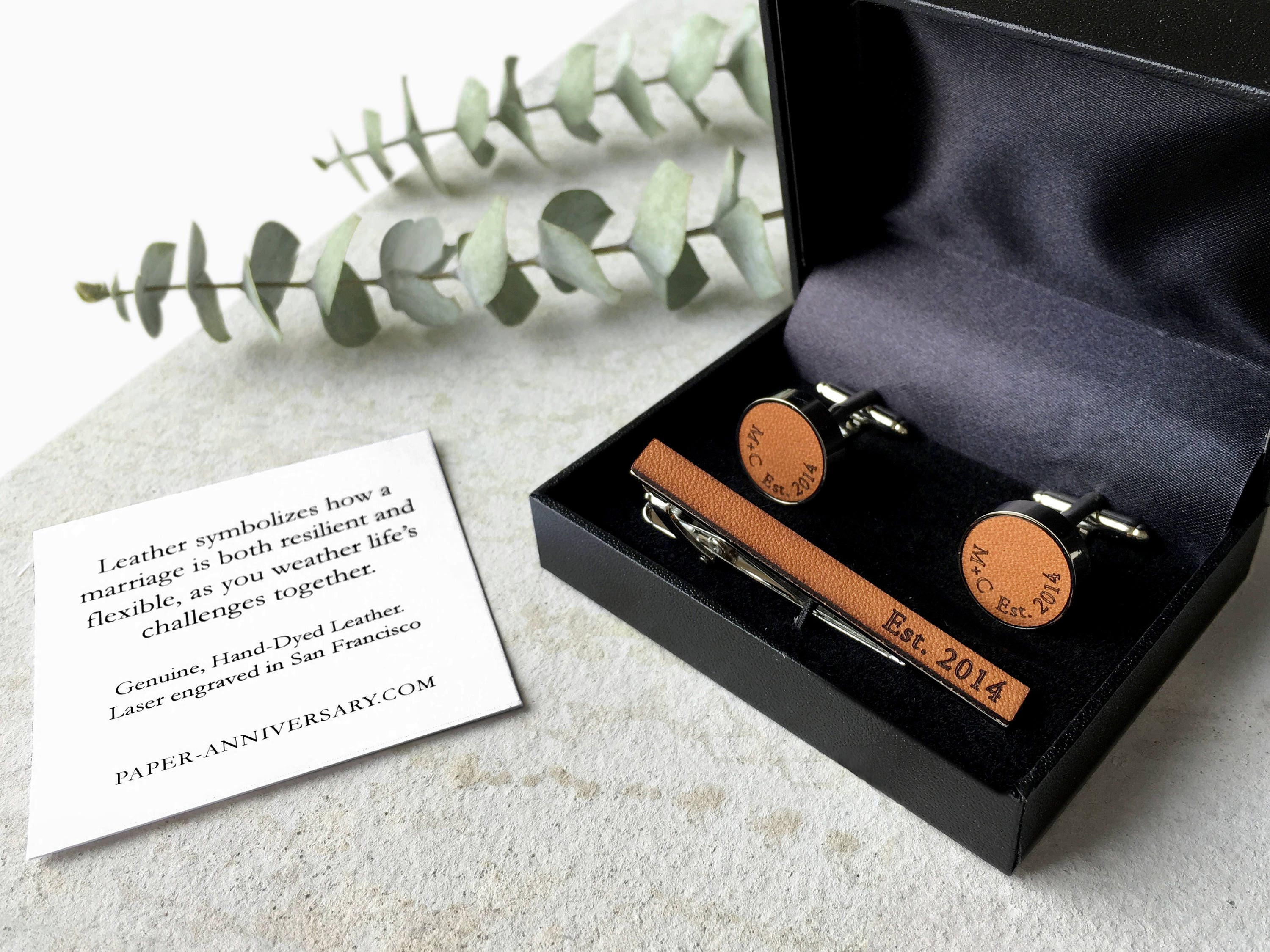 3 Year Wedding Anniversary Gift Leather Him Tie Clip Initials
