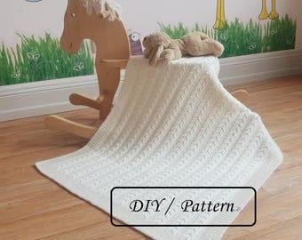 Baby blanket knitting pattern / baby blanket pattern / knitted baby blanket pattern / knitting pattern