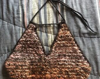 Sunset (orange, pink, and magenta) Inspired Crochet Crop/Halter Top