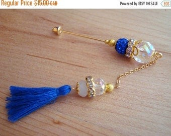 15% OFF SALE Sea Dreamer - Crystal & Royal Blue Tassel Hijab Pin- Stick Pins / Hat Pins / Decorative Pins / Eid Gifts / Bridal Gifts