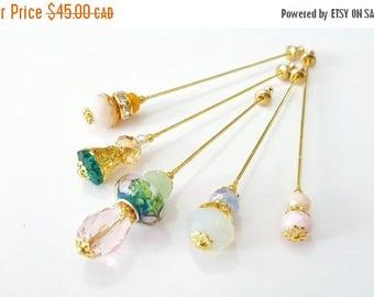 15% OFF SALE Rainforest Hijab Pins Set- Stick Pins / Hat Pins / Decorative Pins / Eid Gifts / Bridal Gifts / Emerald Hijab Pins / Crystal Pi