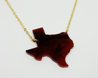 Texas State Tortoise Acrylic Necklace