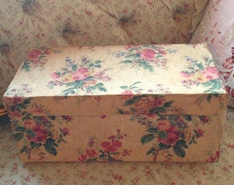 So pretty antique French handmade box covered in beautiful hand blocked floral paper~ lovely display
