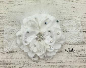Rhinestone Feather Flower Headband with Netting on Lace Elastic Band