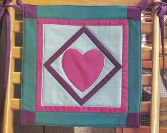 Handmade Quilted Heart Chair Back Cover