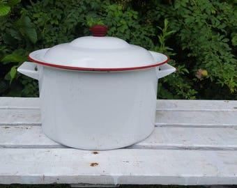 Vintage White Enamel Stock Pot