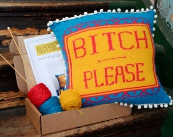 BITCH PLEASE Knitted Cushion Cover Knit Kit - Bright Rude Profanity Scatter Cushion / Pillow / Interior