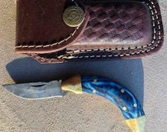 Custom Damascus Pocket Knife with Quality Leather Sheath ( Case).