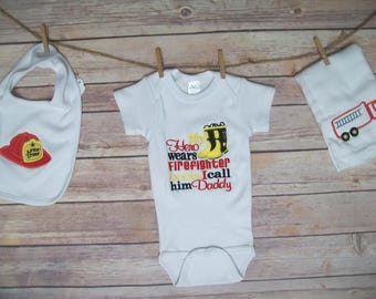 Embroidered Baby onesie, bib, burp cloth, Firefighter baby gift, baby shower gift, boy or girl baby shower gift, baby clothing set